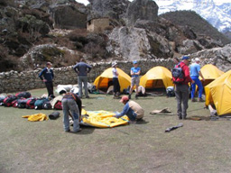 Camp Is Set Up At The End Of The Days' Trekking